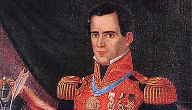 Santa Anna in a Mexican military uniform
