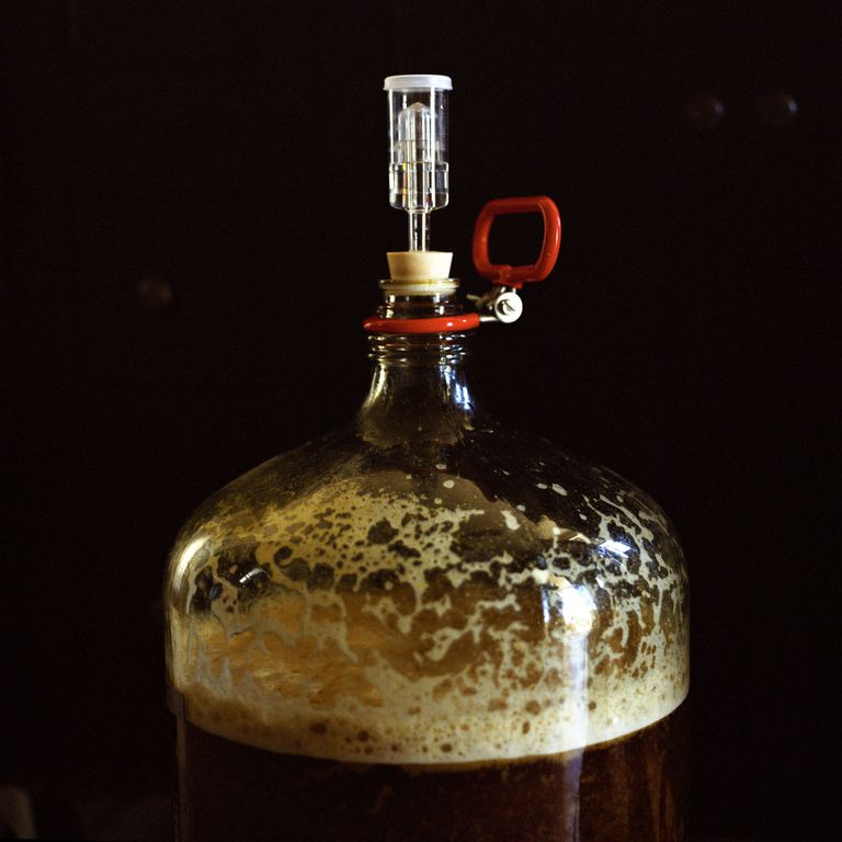Beer fermenting in a glass carboy.