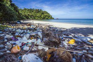 Trash on a beach in Thailand.