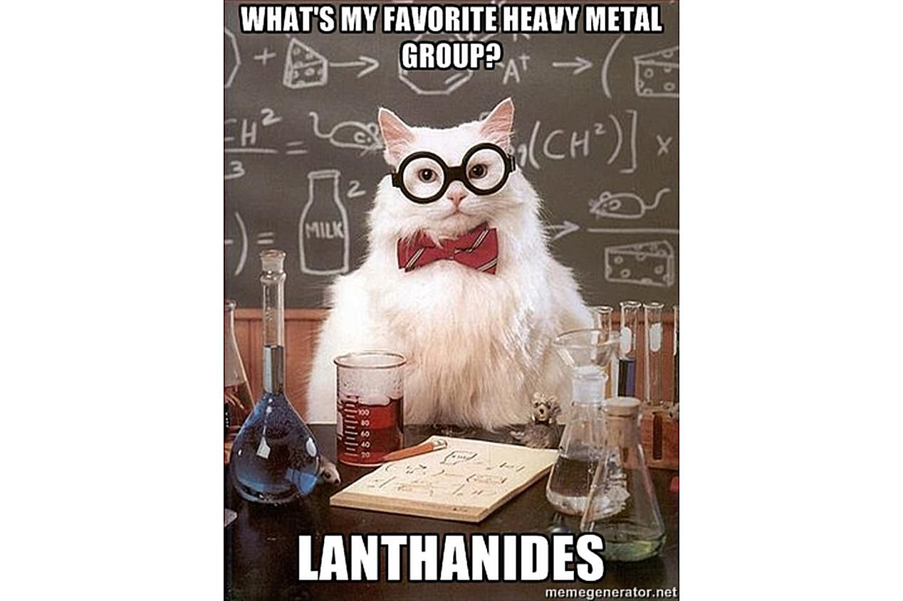 Chemistry Cat bangs his head to the Lanthanides.