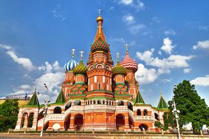 St. Basil's Cathedral against a blue sky