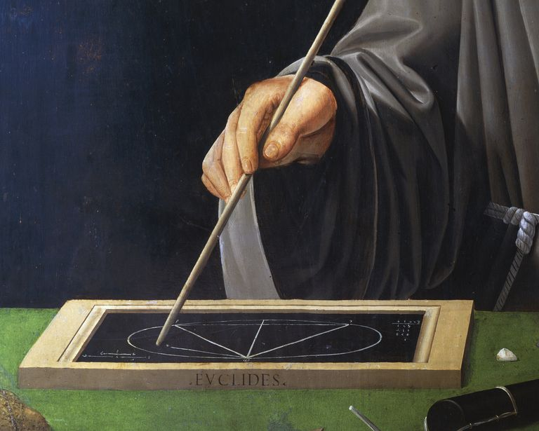 Hand holding rod, and description of theorem of Euclid, detail of portrait of Fra Luca Pacioli (1445-1517) with student, 1496, painting attributed to Jacopo de' Barbari (1460-1470 - ca 1516)