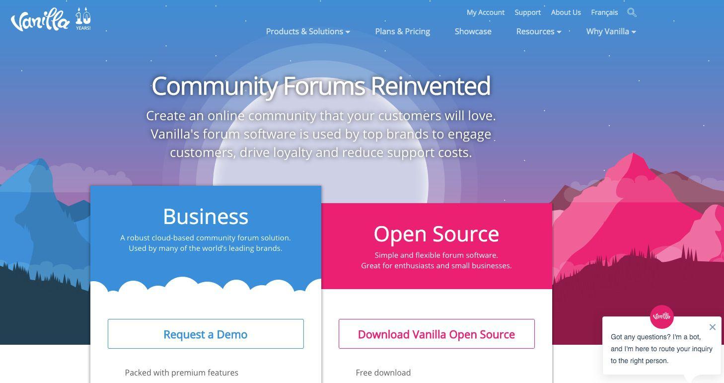 Screenshot of Vanilla Forums forum tool for blog or website