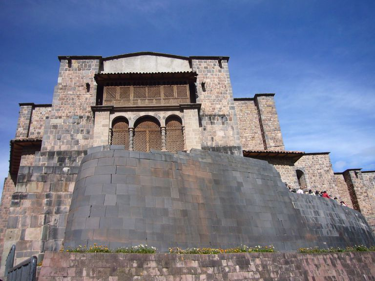 View of the Qorikancha in Cuzco, Peru from below