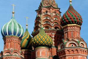 Close-up of colorful onion domes atop St. Basil's Cathedral in Red Square, Moscow
