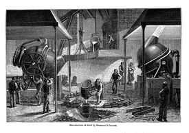 Old engraved illustration of Manufacture of Steel by Bessemer's Process.