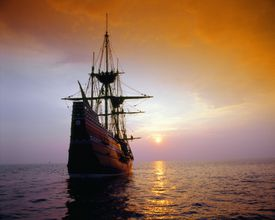 'Mayflower II replica at sunset, Massachusetts'