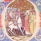 Miniature of Attila meeting Pope Leo the Great. 1360.