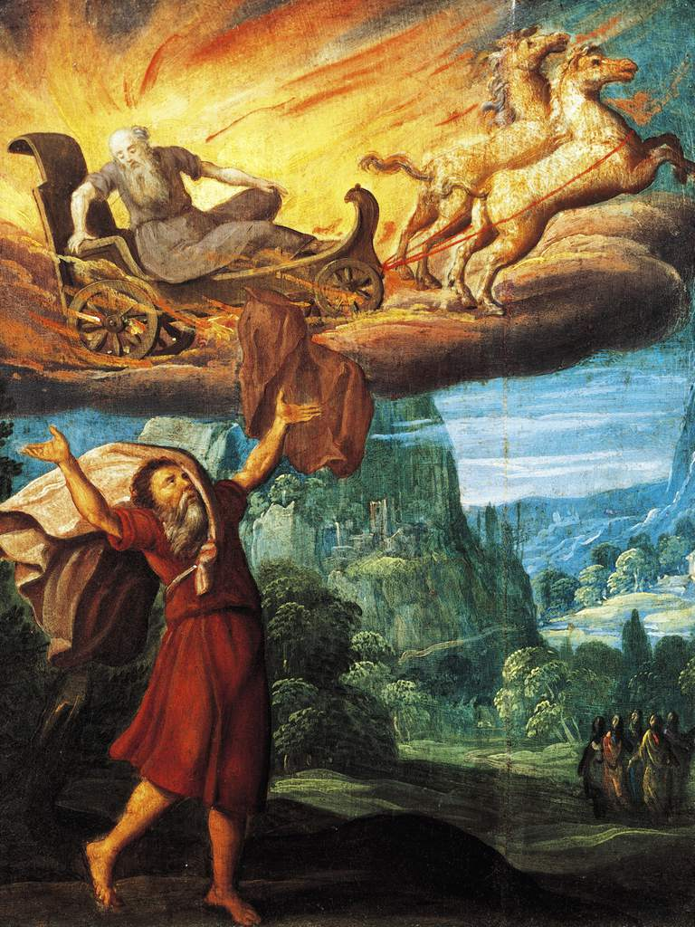 Painting of Elijah ascending into heaven on fiery chariot.