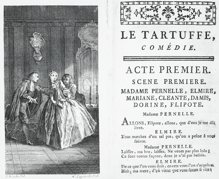 "A page from an early edition of ""Tartuffe"""