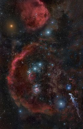 The constellation Orion and the red supergiant Betelgeuse.