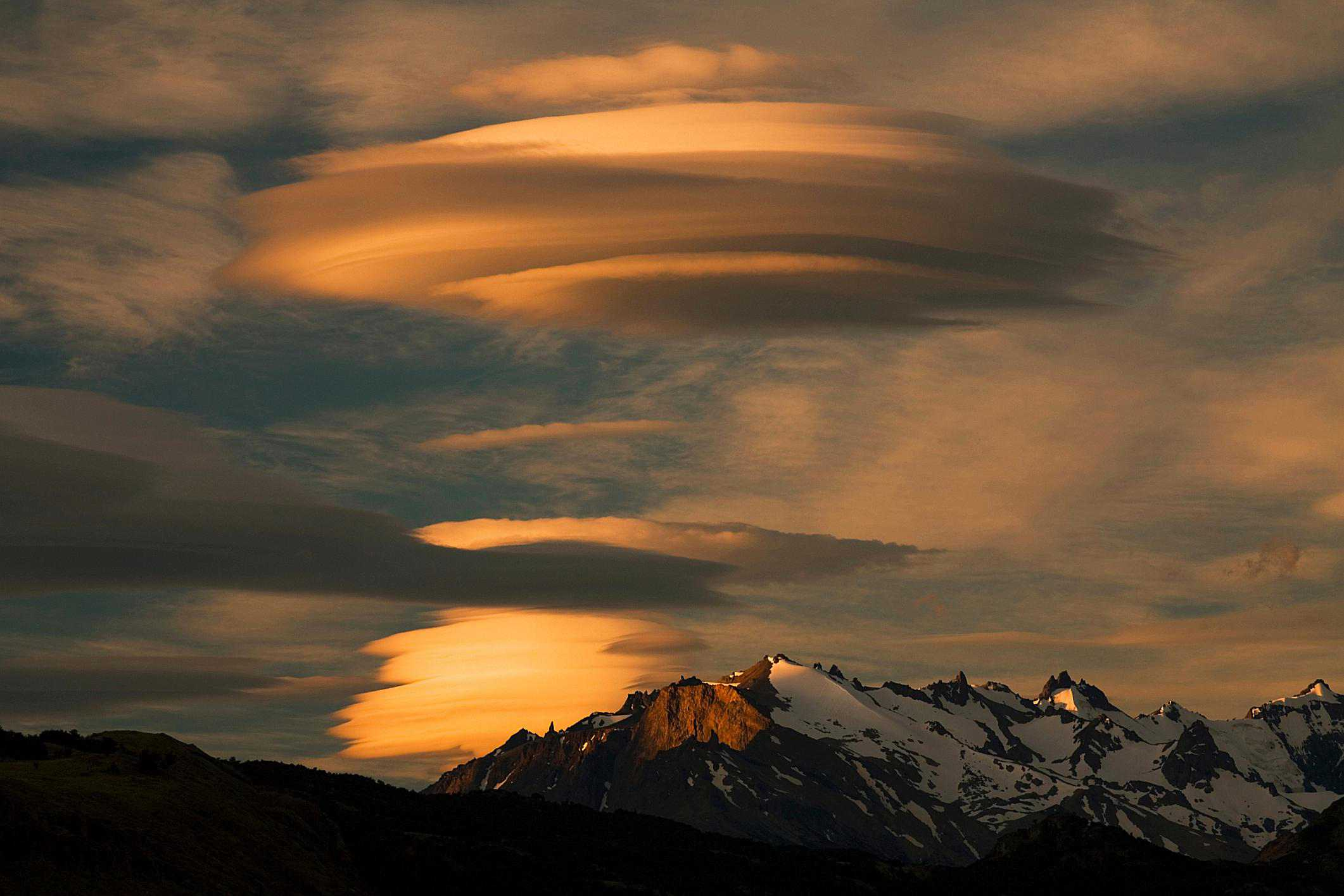Lenticular clouds over the Andes Mountains in El Chalten, Argentina.