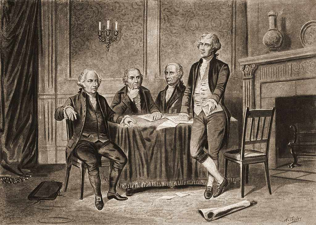 Illustration of four of the United States Founding Fathers, from left, John Adams, Robert Morris, Alexander Hamilton, and Thomas Jefferson, 1774.