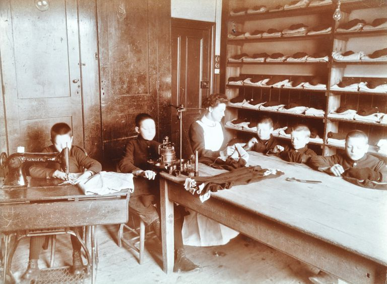 Boys Sewing At The Boys Home Industrial School, London, 1900