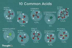 10 common acids and their chemical structures