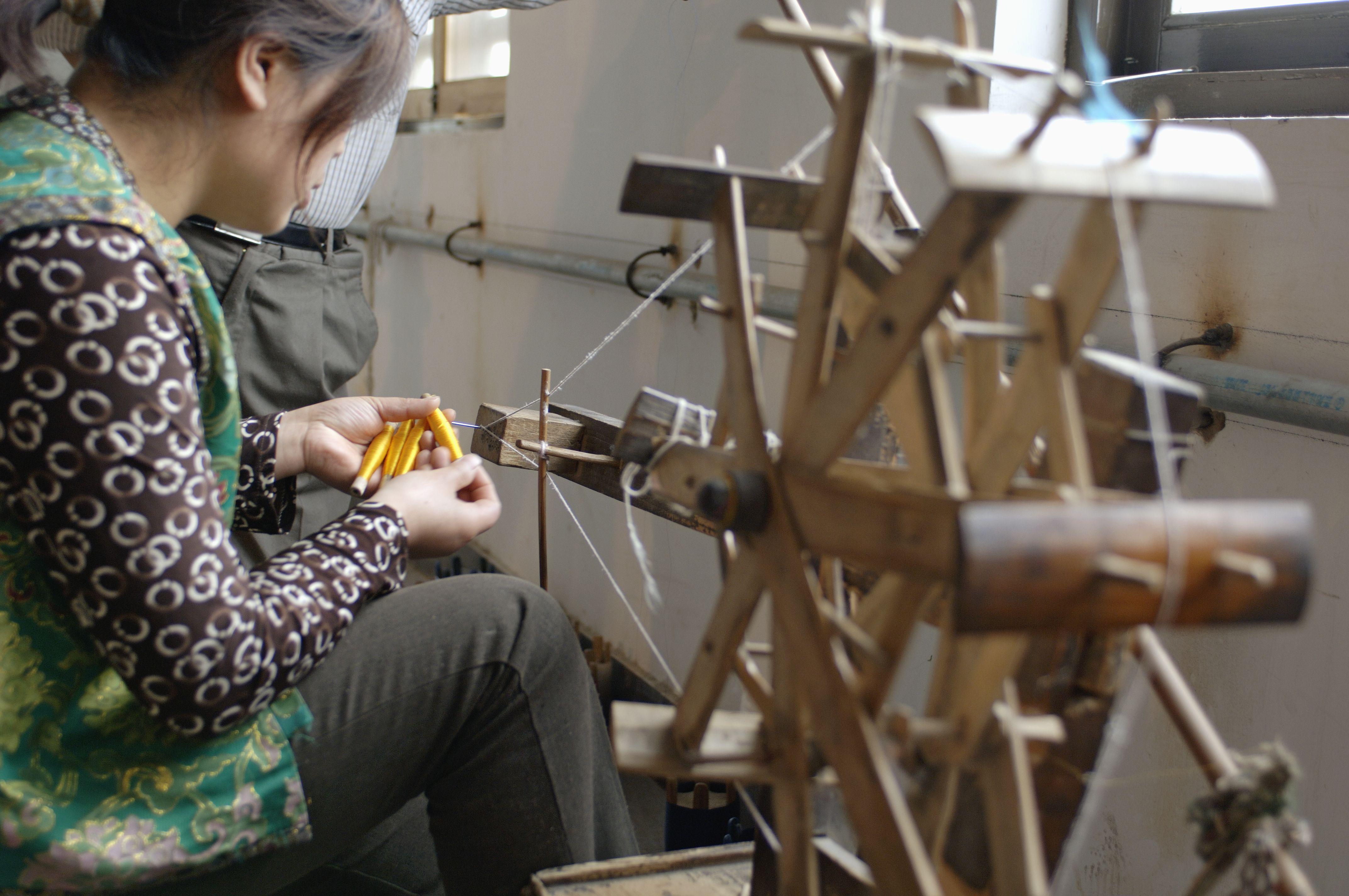 Silk weaving in China, using historic methods