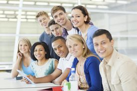Smiling college students in cafeteria