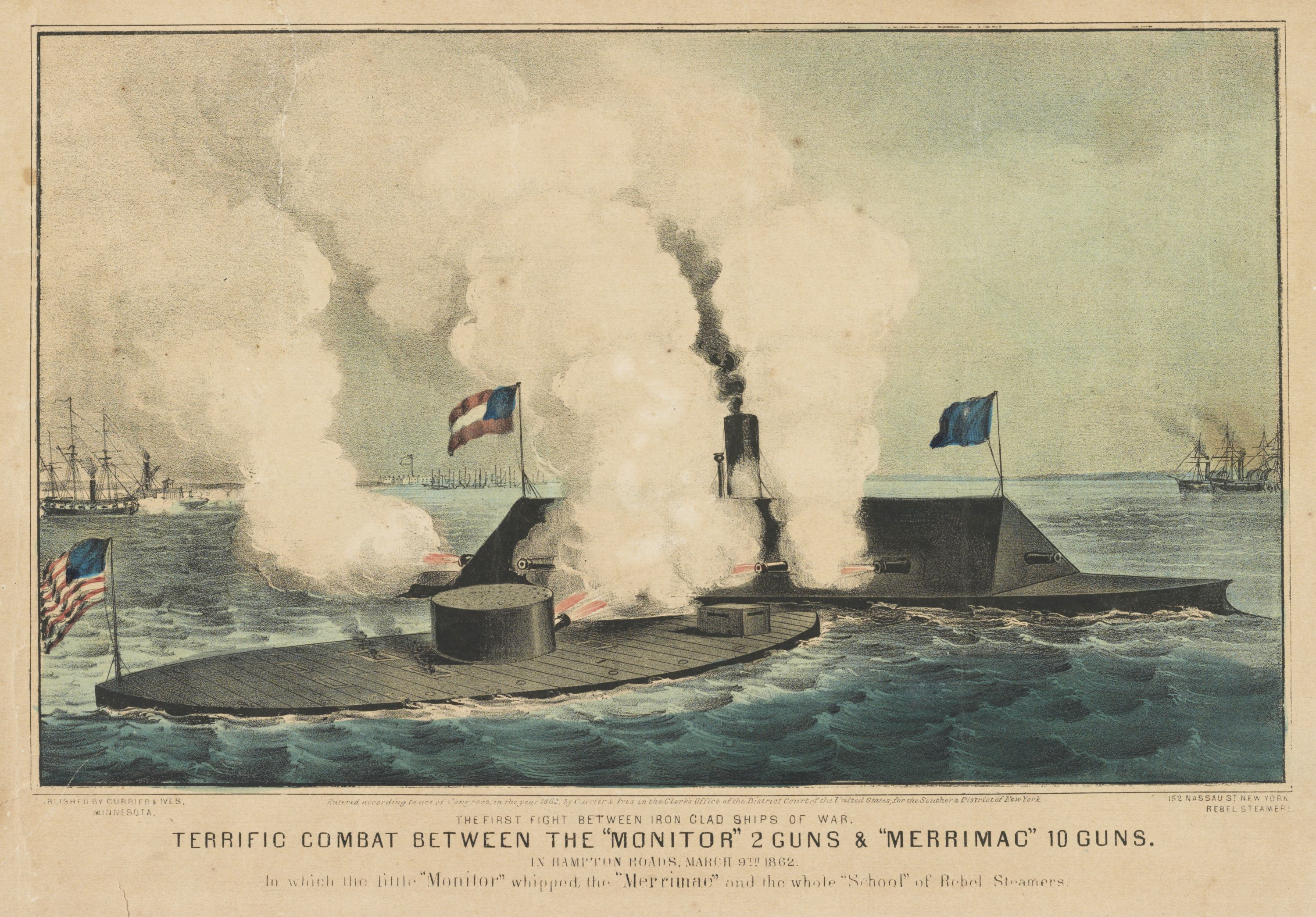 A Currier and Ives print depicting the Monitor battling the Virginia.