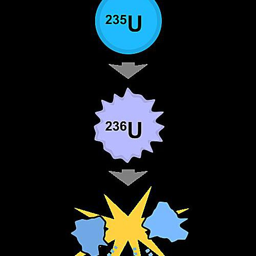 This is a simple diagram illustrating an example of nuclear fission.