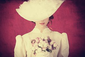 Victorian woman with flowers