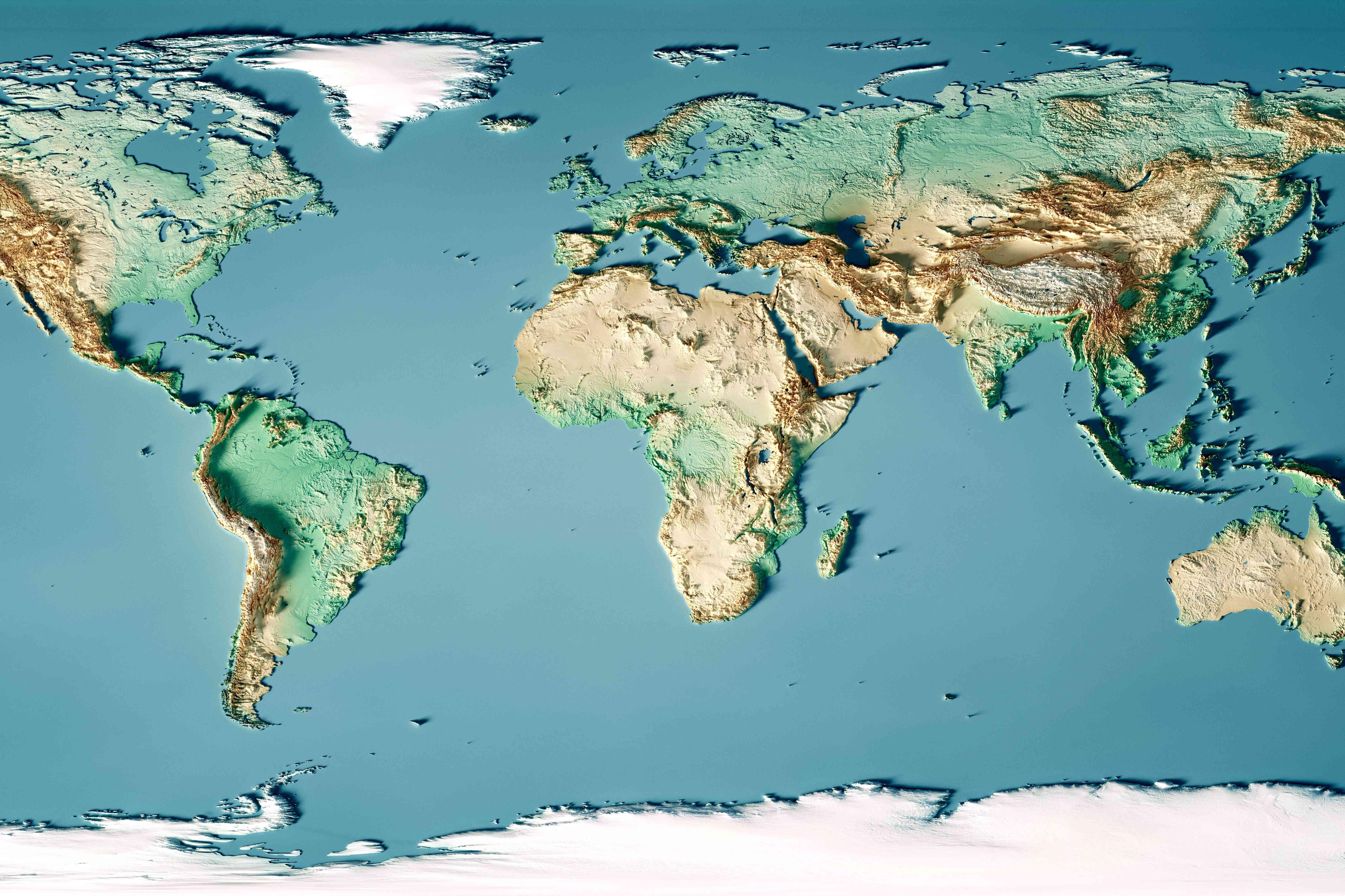 Eine Weltkarte mit verschiedenen geografischen Merkmalen wie Biomes, Landmassen und Gebirgshöhen
