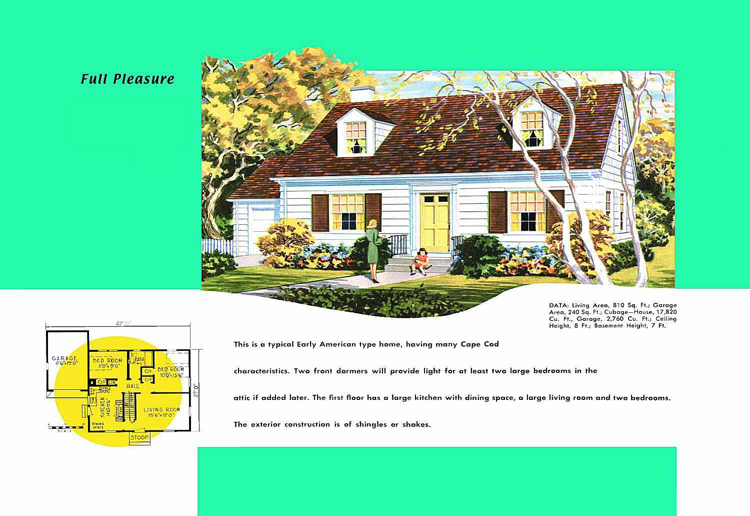 Cape Cod House Plans - 1950s America Style Ideas For Open Kitchens Living Rooms And Dining In A Cape Cod Style Home on