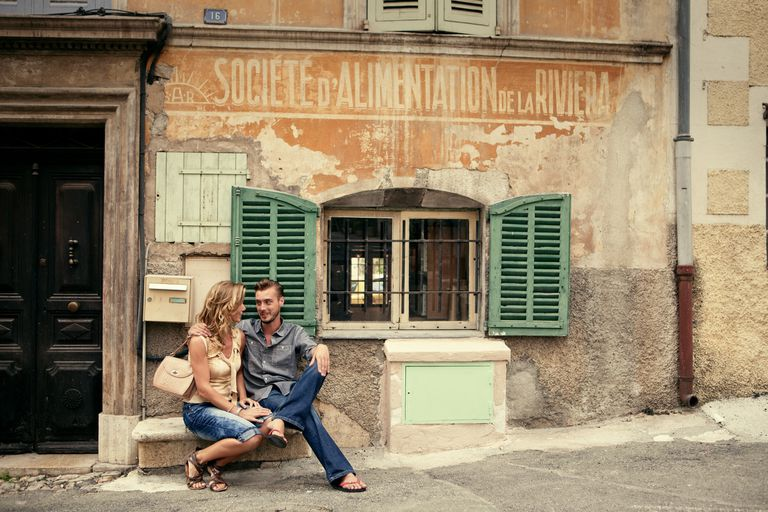 Couple on holiday in Valbonne in the South of France