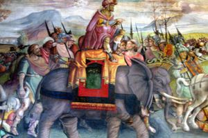 Hannibal marching as depicted in a fresco.
