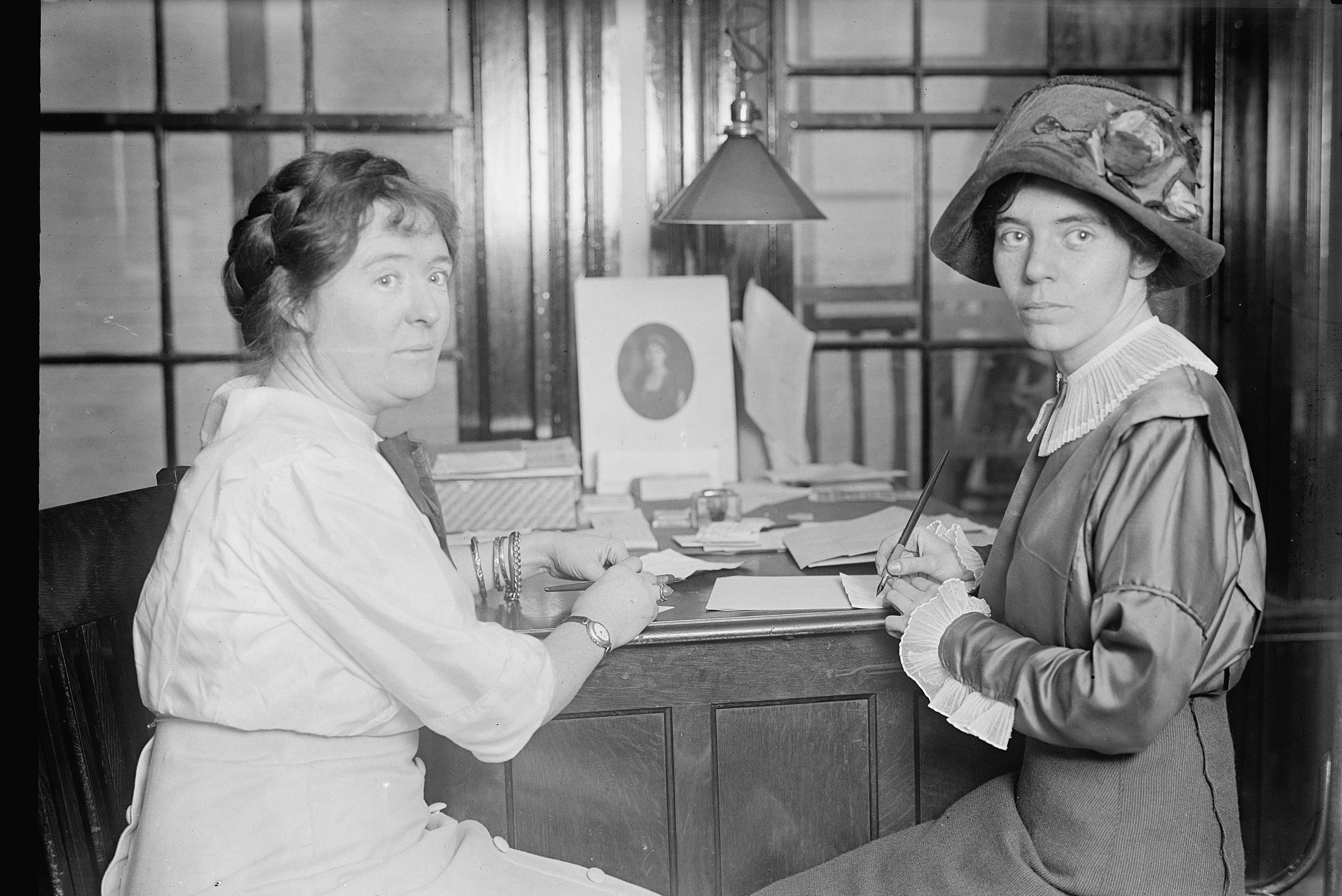 Unidentified woman with Alice Paul, 1913