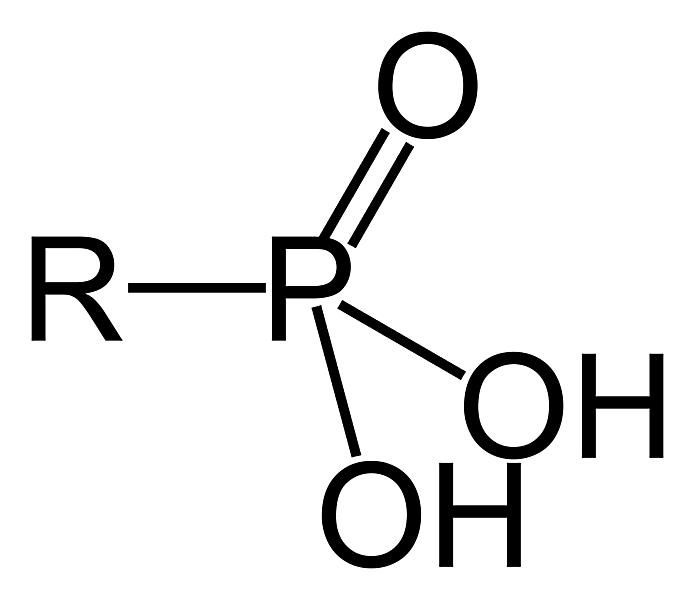 This is the two-dimensional structure of the phosphonic acid or phosphono functional group.