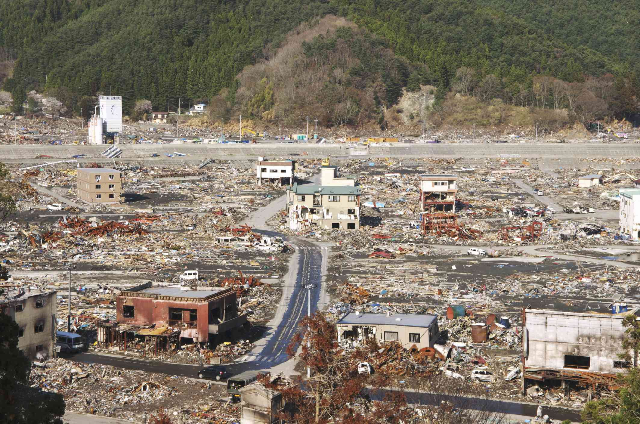 Town destroyed by the tsunami in Japan