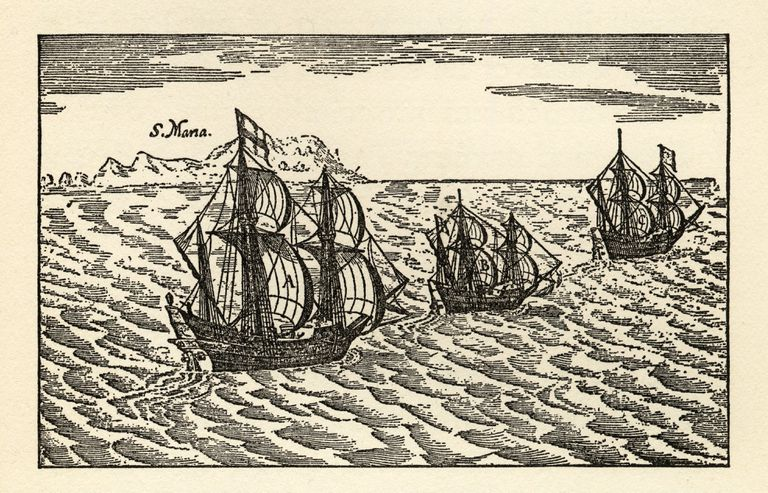 Christopher Columbus Sailing Ships Engraving, Circa 1400s