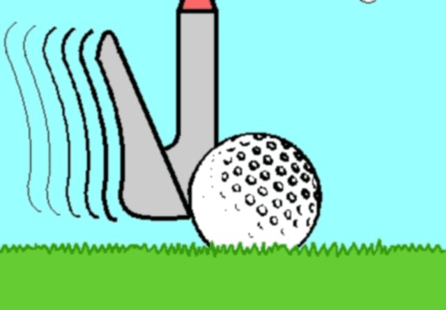 Illustration of a thin shot in golf