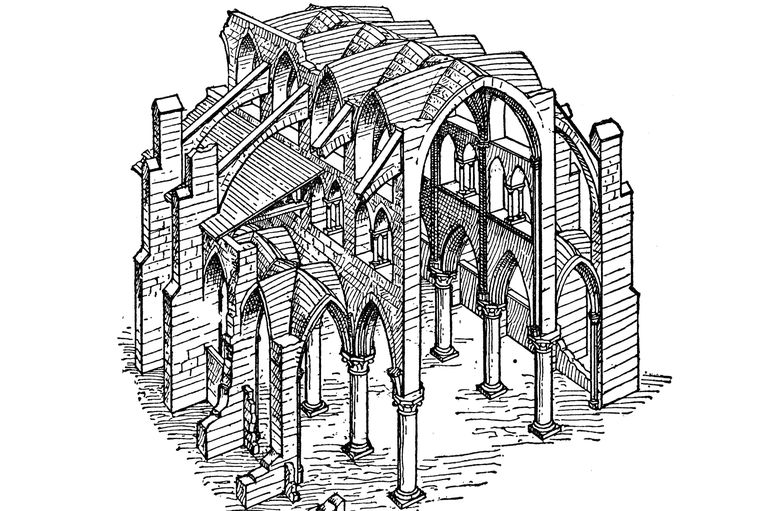 Pen And Ink Drawing Of Sections Gothic Cathedral Isolated Supports Buttressing