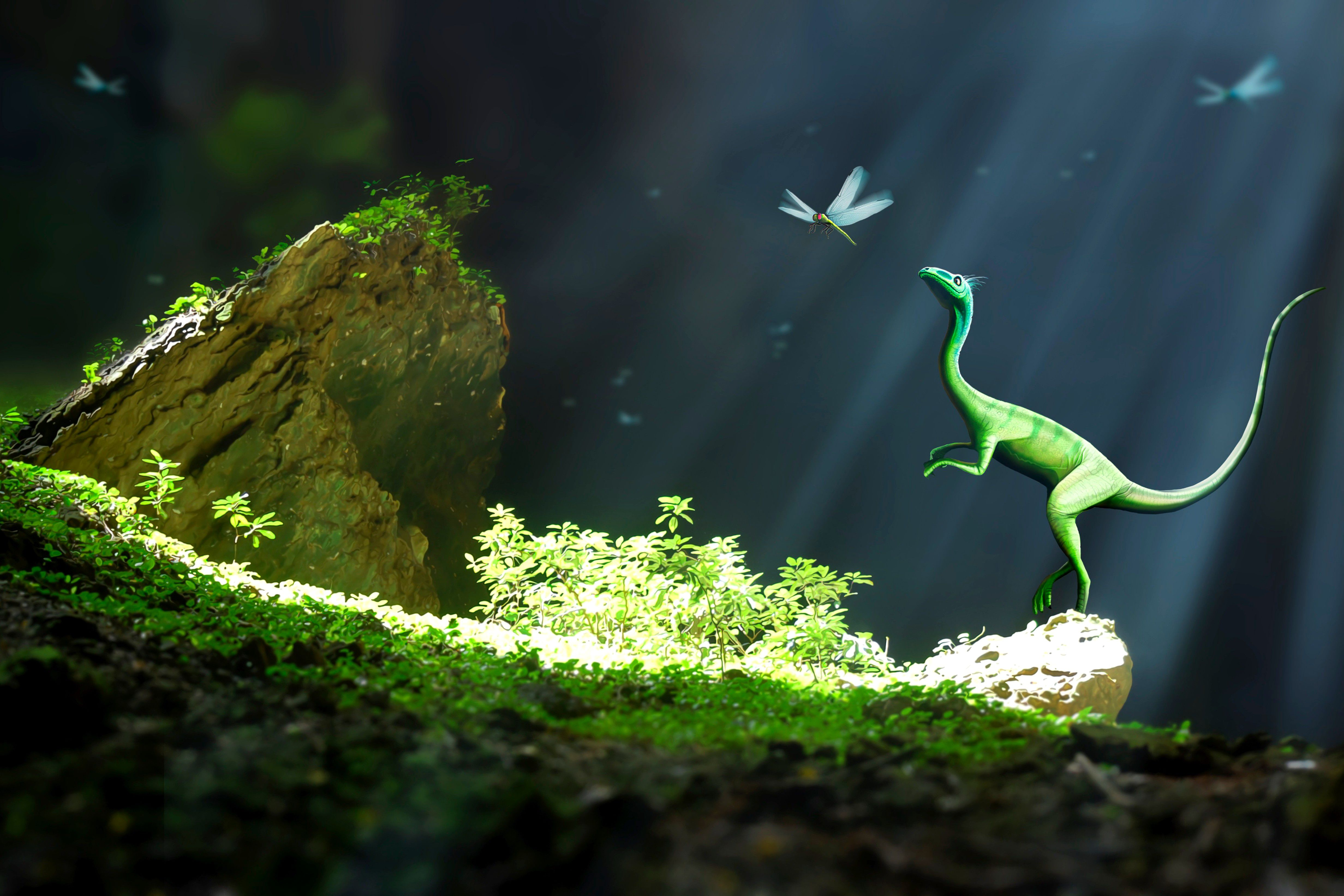 A green compsognathus checks out a dragonfly in a ray of sunlight