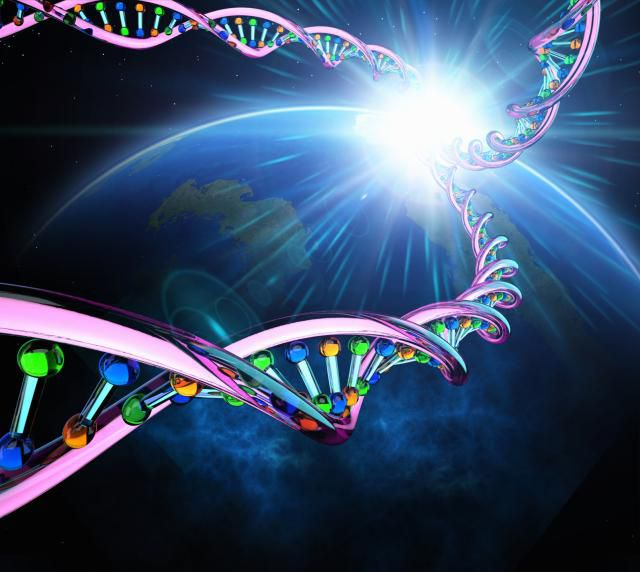 Strands of DNA over the earth.