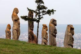 Scythian kurgan anthropomorphic stone sculptures in Izyum, Eastern Ukraine