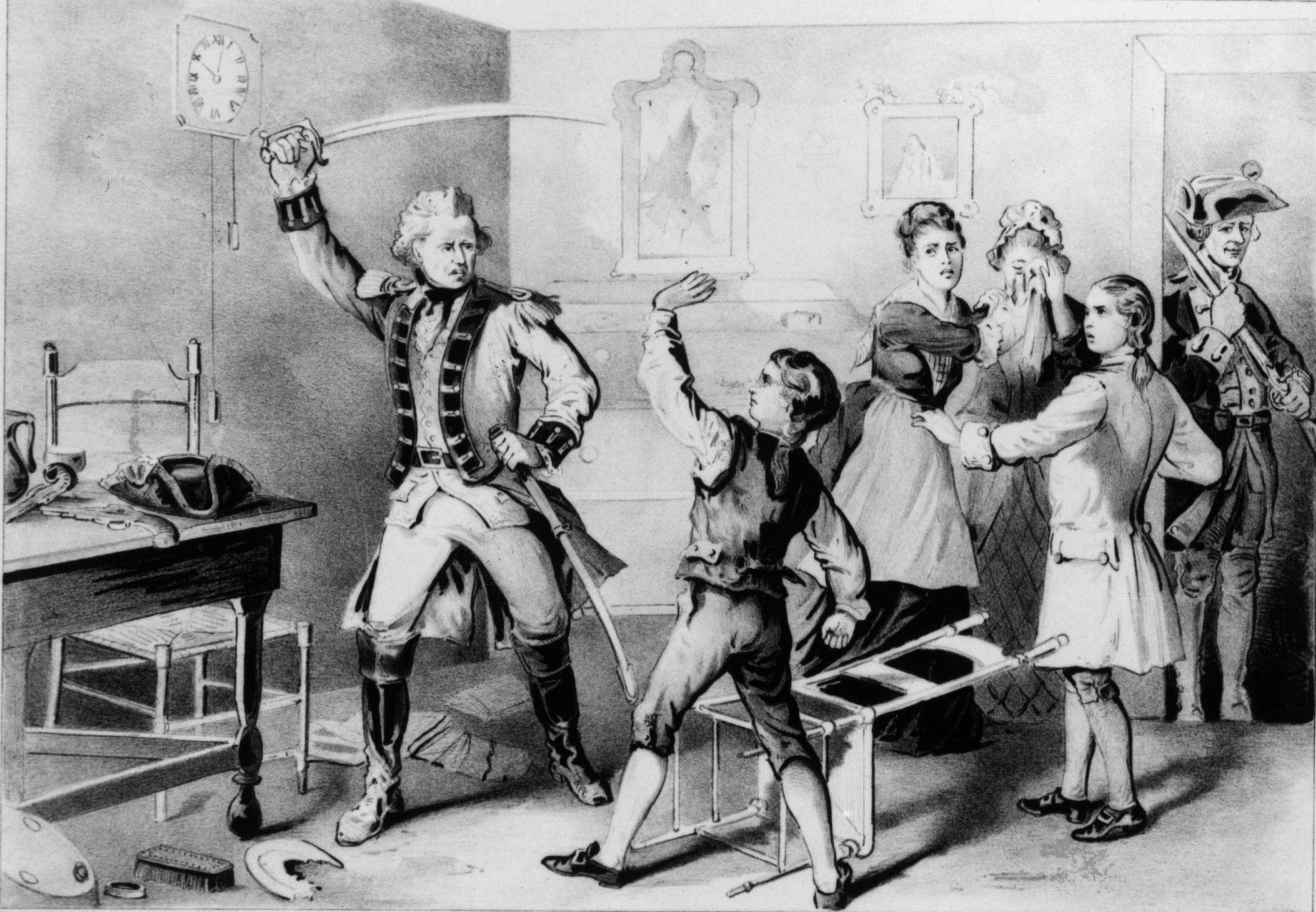 Andrew Jackson as a boy being attacked by a British officer