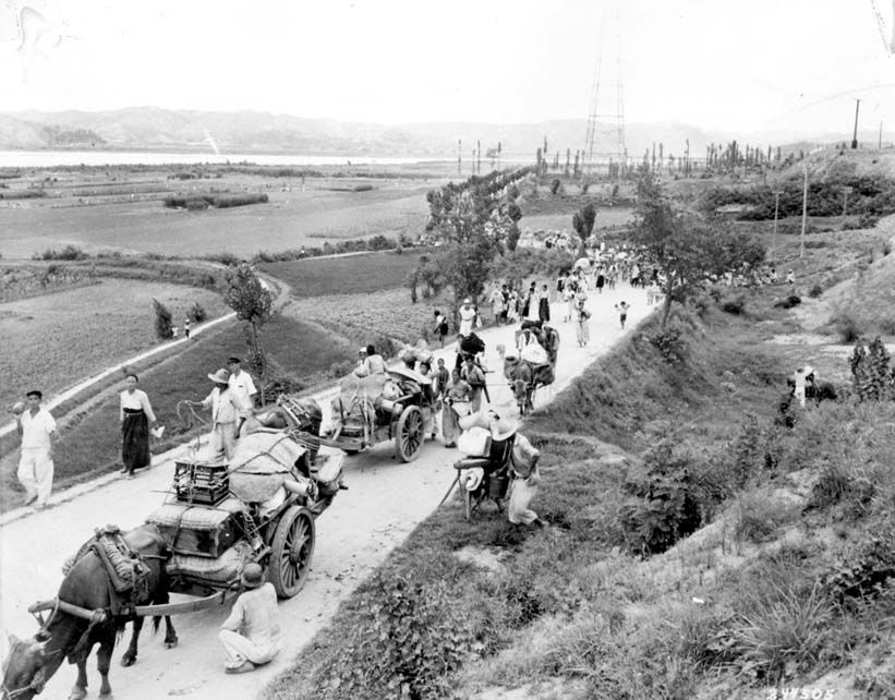 Oxcarts and pedestrians flow out of Pohang, as residents flee the approaching North Korean Army.
