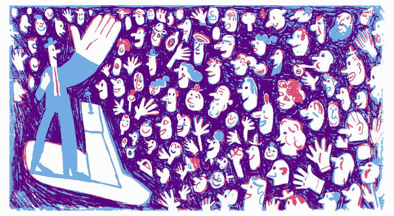 Cartoon of people applauding a politician