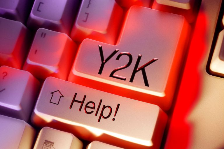 "A keyboard with keys reading ""Y2K"" and ""Help!"""
