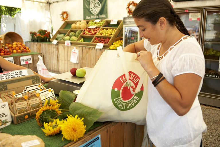 Woman with shopping bag at Farm Market