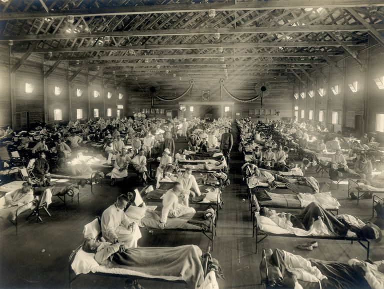 Emergency hospital during influenza epidemic, Camp Funston, Kansas.
