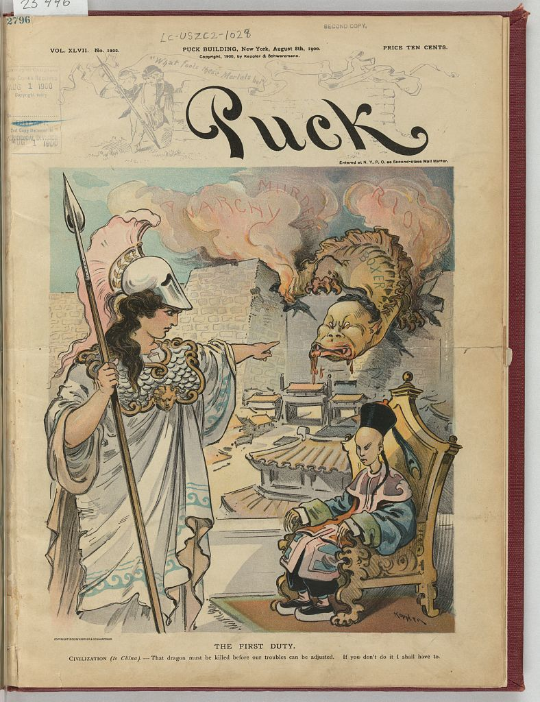 Puck Cartoon of Boxer Rebellion in China