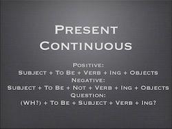 Present Continuous Structure
