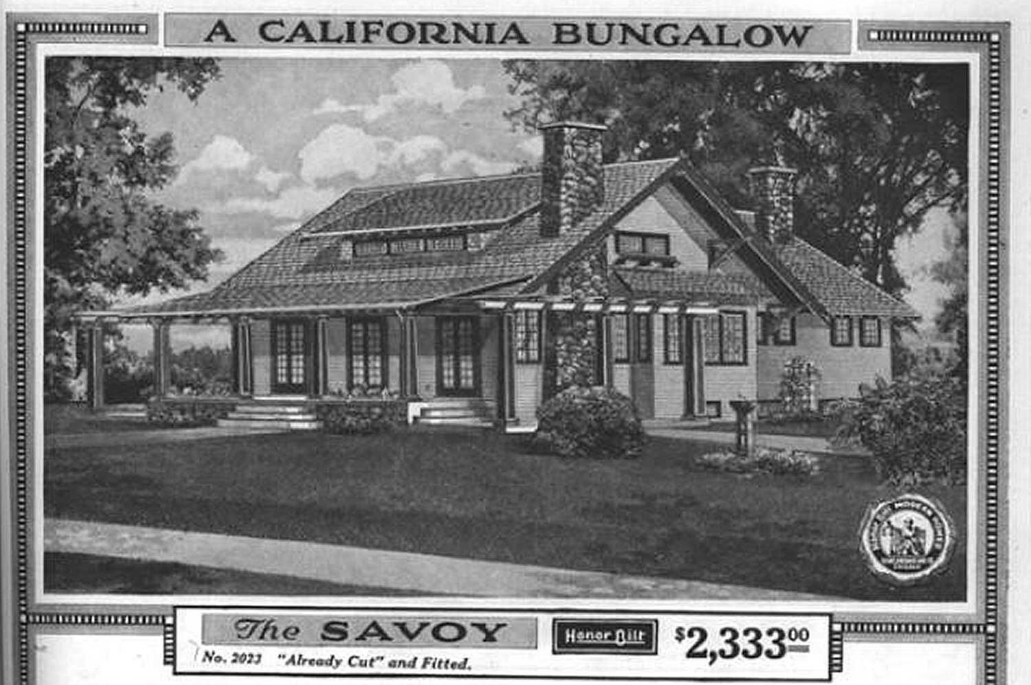black and white illustration of a California bungalow called the Savoy costing $2,333