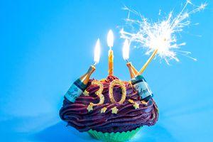 30th birthday celebratory cupcake
