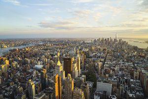 New York City skyline looking south towards Lower Manhattan at sunset.