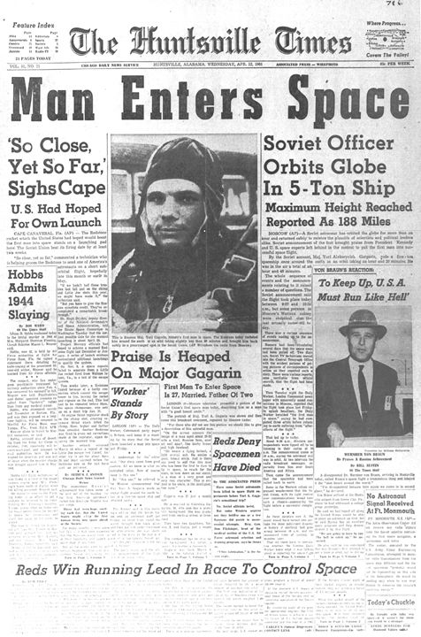 A newspaper announcing Yuri Gagarin's historic trip to space.