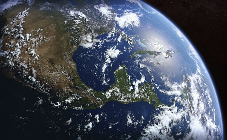Earth from space showing the United States, Mexico, Central America and Cuba